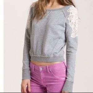 Free People gray sweatshirt lace shoulders size S
